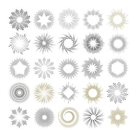광선 및 starburst 디자인 요소입니다. 햇살 빈티지 스타일 요소 및 레이블 및 스티커 아이콘의 컬렉션입니다. 손으로 그린 햇살 모양