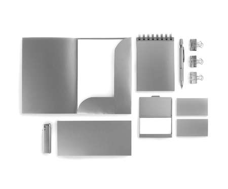 silvery: Elements of corporate identity, silvery corporate identity, silvery  design elements, set to accommodate corporate identity, collection of corporate identity, isolated on white background