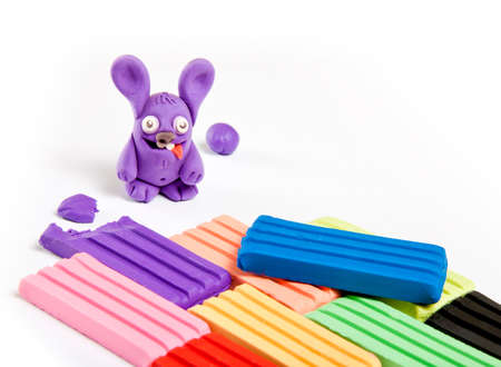 Childrens toy made from plasticine on white background Stok Fotoğraf