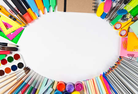 School supplies frame on a white background Stock Photo