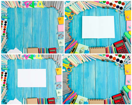 Set of school supplies frames on different background
