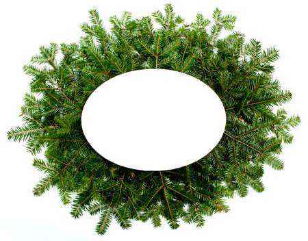 흰 배경에 고립 된 크리스마스 녹색 프레임 워크