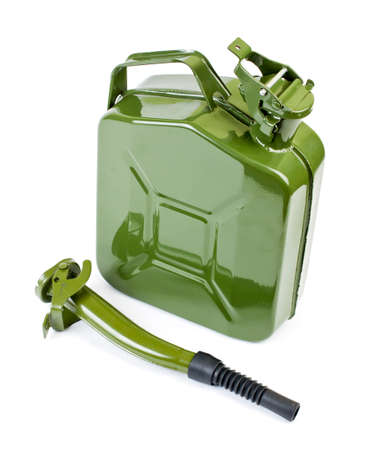 Jerrycan with flexi pipe spout on a white background Stock Photo