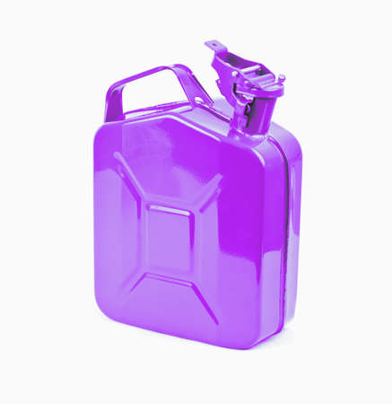 gas can: Purple jerrycan on white background. Canister for gasoline, diesel gas