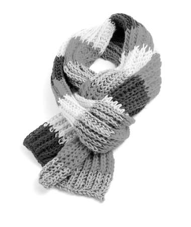 Black and white striped scarf isolated on a white background