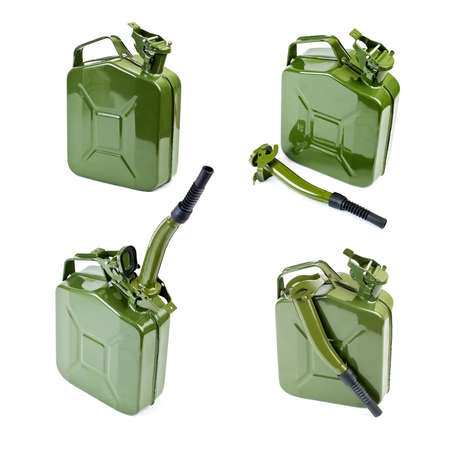 Collection of Jerrycan with flexi pipe spout on a white background Stock Photo