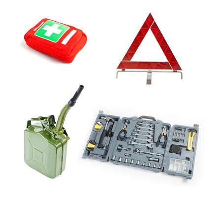 Emergency kit for car isolated on white background Stock Photo