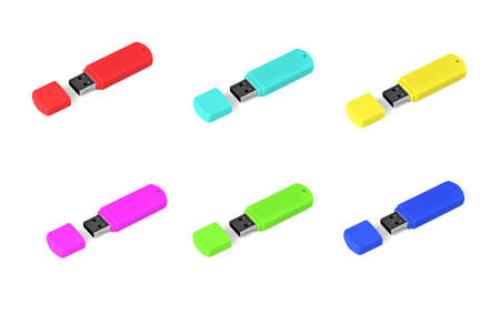 Set of multi colored usb flash drive on white background