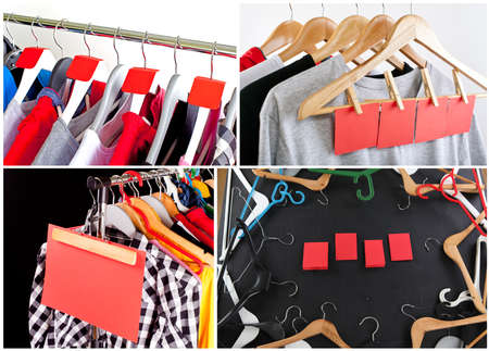 Shopping sale concept. Sale in a clothing store - discount sign at a clothes rack