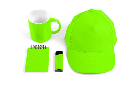 Set of green elements for corporate identity design on white background