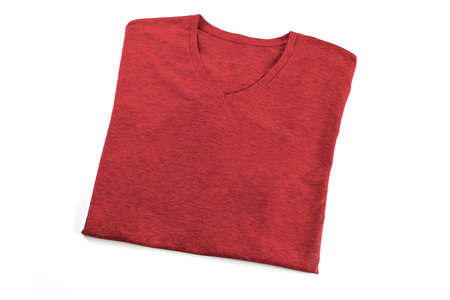 Red folded t-shirt mock up, ready to replace your design Stock Photo