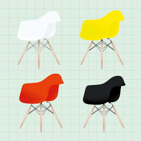 Eames chair variations, office home bar restaurant furniture set. Creative interior objects collection.