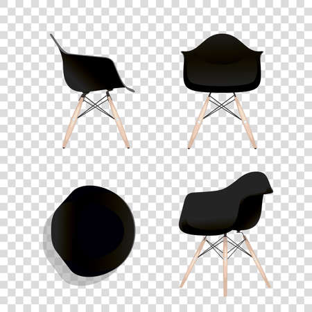 Eames chair variations. Office home bar restaurant furniture set. Creative interior objects collection. Иллюстрация