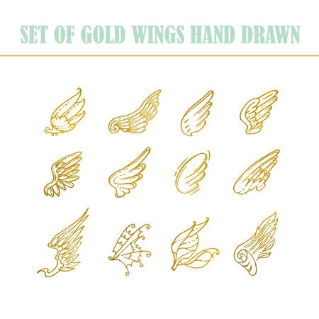 Hand drawn wings, set of design elements vector illustration. Vectores