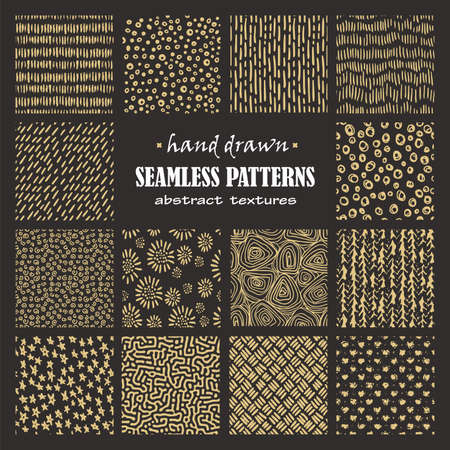 Set of seamless hand drawn marker and ink patterns. Abstract vector scratch textures with dots, strokes and doodles.