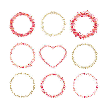 Set of frames made from hearts. Cute round borders with space for text. Collection wreaths hearts Vectores