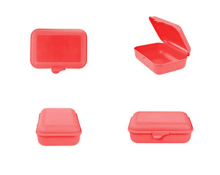 Red plastic box package isolated on white background. Front, top, side view 免版税图像 - 101096745