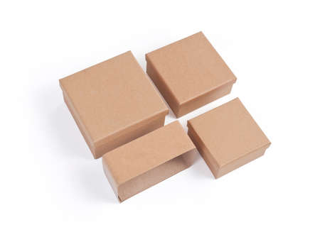 Set of cardboard boxes for packaging on a white background Banque d'images