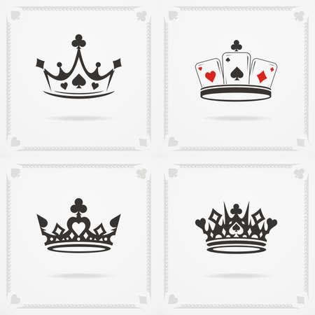 Set of King crowns symbols. Vector heraldic elements design