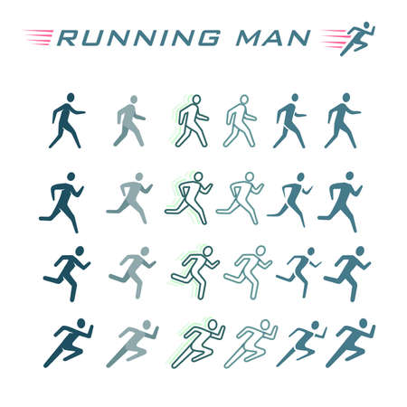 Set of silhouettes. Runners on sprint, man Illustration