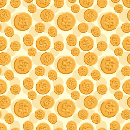 Seamless texture with golden coins flat style Ilustrace