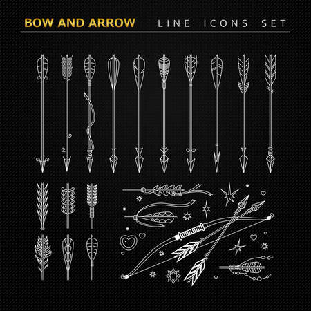 Bow and arrow. Line icons set