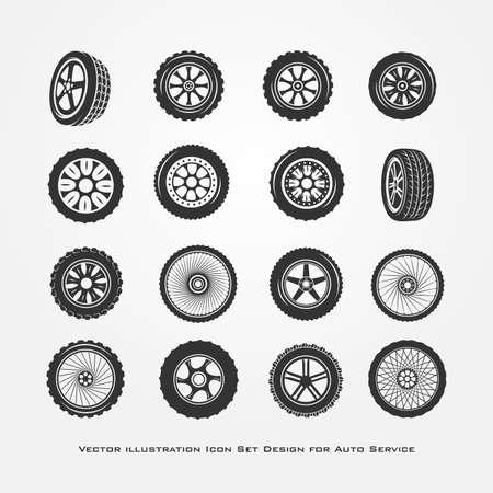 Set of car wheels isolated on white background