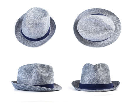 Set of gray hats isolated on white. Front, top, side view