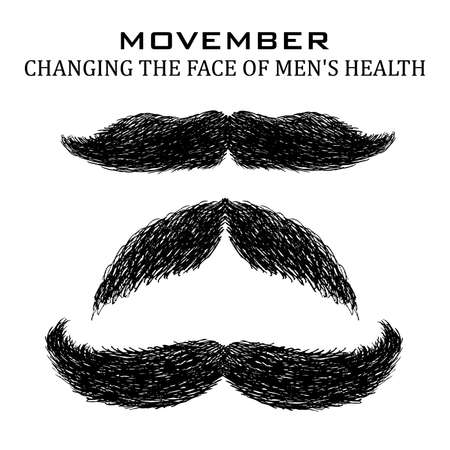 Moustache or mustache. Movember vector icons set