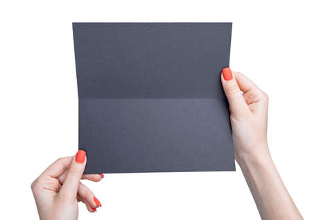 A woman holding black booklet. Identity template Stockfoto