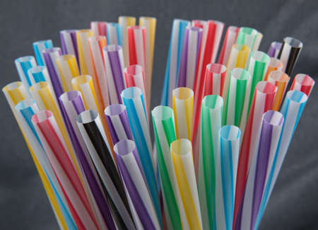 Plastic colored cocktail straws. Cocktail and Coffee Straws