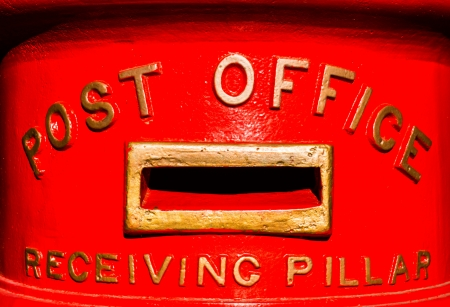 The old-styled, red Australian post office receiving pillar  postbox   photo