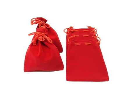 pocket: The red jewelry bags on white background  Stock Photo