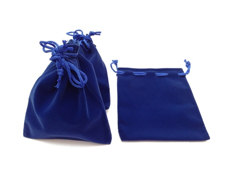 pocket: The blue jewelry bags on white background