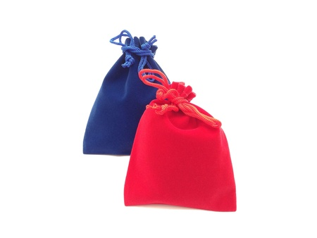 pocket: The red and blue jewelry bags on white background