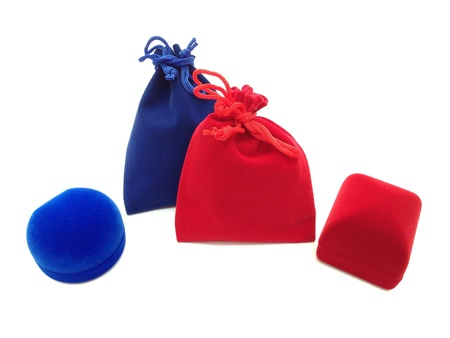 pocket: The red blue jewelry boxes and bags on white background  Stock Photo