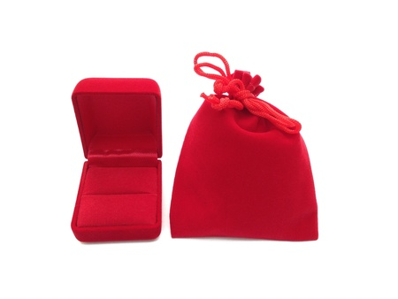 pocket: The red jewelry box and bag on white background
