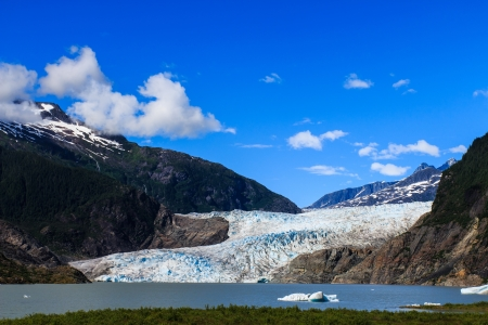 Mendenhall Glacier and Lake in Juneau, Alaska, USA in summer photo