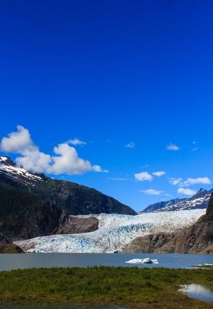 Mendenhall Glacier and Lake in Juneau, Alaska, USA in summer photo