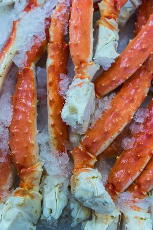 crab meat: Many Alaskan king crab legs in the public market, Seattle, Washington, America