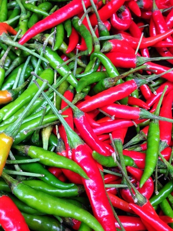 traditional textured: Many fresh guinea-pepper in the market