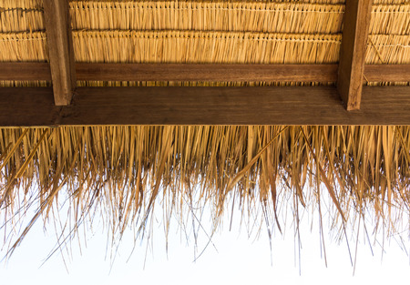 The under thatched  roof at the hut in the countryside of Thailand photo