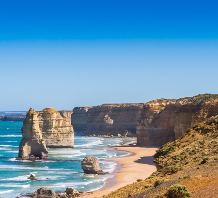 The twelve apostles with blue sky on the great ocean road in Victoria Australia photo