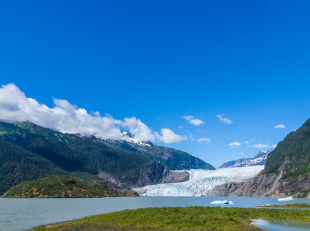 icefield: Mendenhall Glacier and Lake in Juneau, Alaska, USA in summer