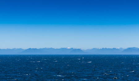 The view with blue sky from the cruise in Alaska photo