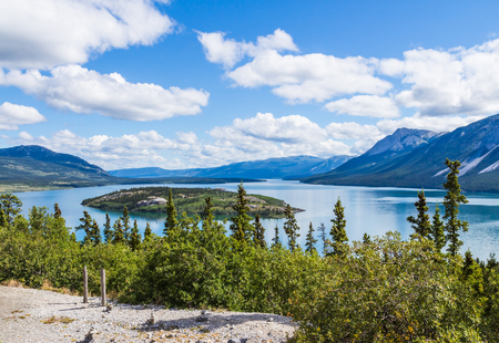 bove: Bove island and Tagish Lake in Yukon, Canada in summer