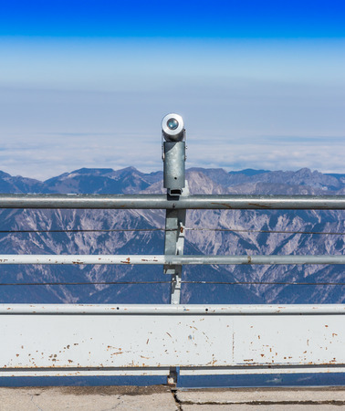 The telescope at the viewpoint, Top of Germany, Zugspitze in Germany