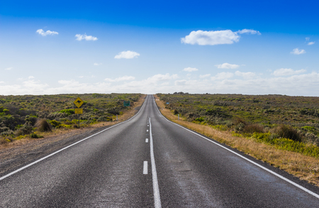 The straight road on the great ocean road in Victoria Australia photo