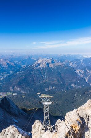 zugspitze mountain: The mountain view with blue sky at Top of Germany, Zugspitze in Germany Stock Photo
