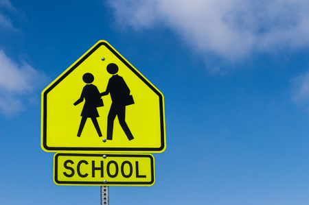cross walk: School Warning Sign with the sky background
